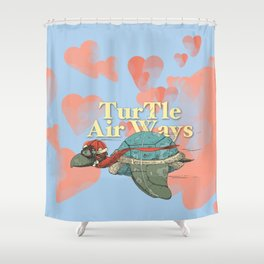 Turtle Air Ways, The flying turtle! Shower Curtain