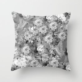 PARROTS MAGNOLIAS ROSES AND HYDRANGEAS TOILE PATTERN IN GRAY AND WHITE Throw Pillow