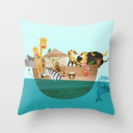 Noahs Ark with Animals– Illustration for the childrens room of girls and boys Throw Pillow