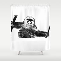 sloth Shower Curtains featuring sloth by vidikay