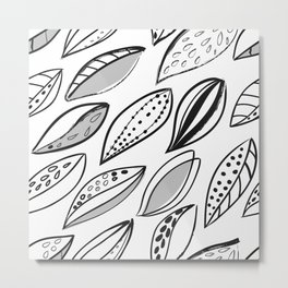 Scandinavian monochrome foliage repeating pattern inkbrush Metal Print