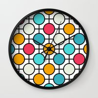 polka dots Wall Clocks featuring Polka Dots by Dizzy Moments