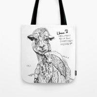 llama Tote Bags featuring Llama by ARI(Sunha Jung)