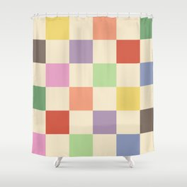 Colorful Checkered Pattern Shower Curtain
