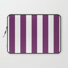 Byzantium violet - solid color - white vertical lines pattern Laptop Sleeve