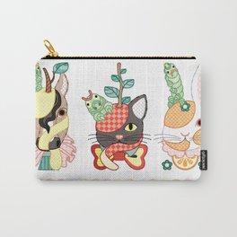 Fruit animals a pear horse, an apple cat, a mandarin orange rabbit, with green caterpillars (remake) Carry-All Pouch