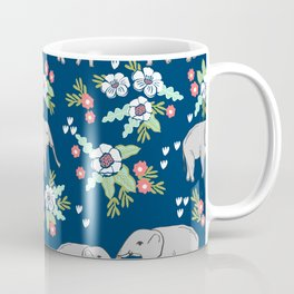 Elephants pattern navy blue with florals cute nursery baby animals lucky gifts Coffee Mug