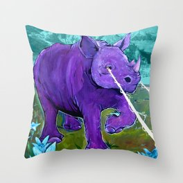 The Hills Are Alive with Laser Rhino - Mountain Rhinoceros and Edelweiss original art Throw Pillow
