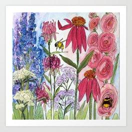 Watercolor Acrylic Cottage Garden Flowers Art Print