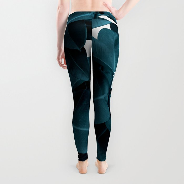 Indigo Blue Plant Leaves Leggings