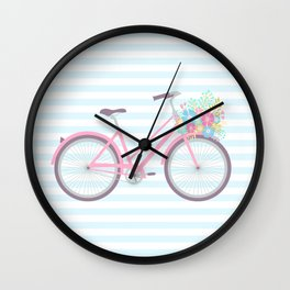 Flower Bicycle Cute Pastel Hipster Wall Clock