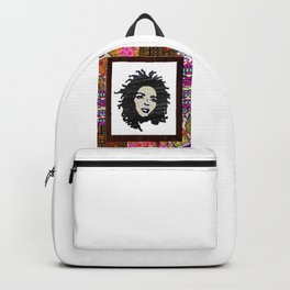 Lauryn Hill vintage fabric & wood grain patterned collage Backpack