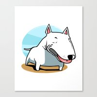 bull terrier Canvas Prints featuring Bull Terrier by Jaume Tenes