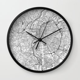 Lyon Map Line Wall Clock