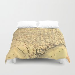 Vintage Map of The South Carolina Railroads (1900)  Duvet Cover