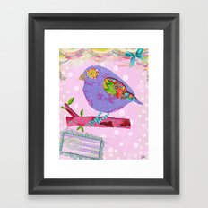 Pink And Purple Passion Bird Framed Art Print