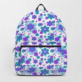 Turquoise Teal Blue and Purple Floral Backpack