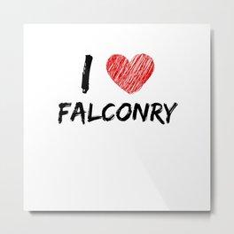 I Love Falconry Metal Print