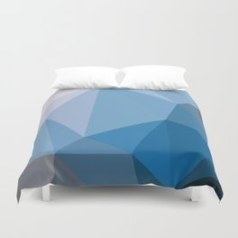 Shades Of Blue Triangle Abstract Duvet Cover