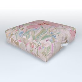 Modern Pastel Pink Watercolor Chic Floral Outdoor Floor Cushion