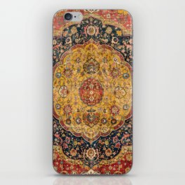 Indian Boho III // 16th Century Distressed Red Green Blue Flowery Colorful Ornate Rug Pattern iPhone Skin
