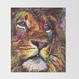 Colorful Lion Painting 2018 Throw Blanket