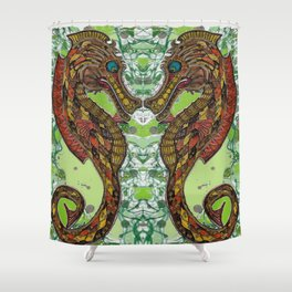 sea horse play Shower Curtain