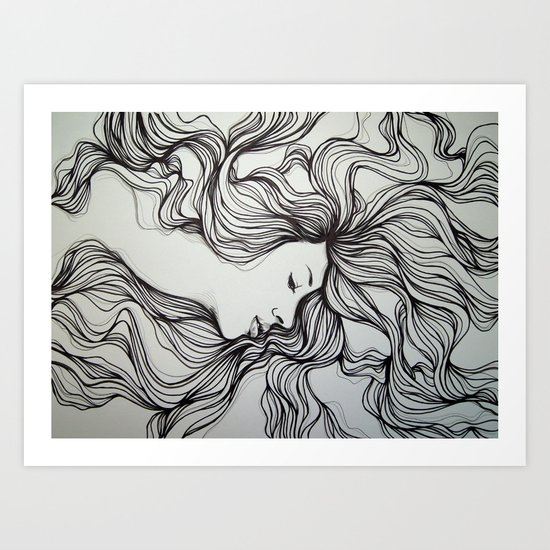 girls in the hair 5 Art Print