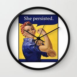 Rosie the Riveter She Persisted Wall Clock