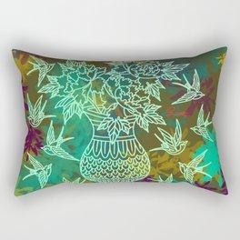 Swallows and Spring Peonies Rectangular Pillow