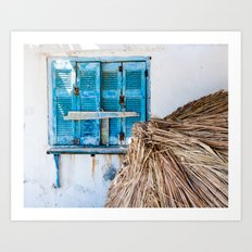 Distressed Blue Wooden Shutters and Beach Umbrella in Crete. Art Print