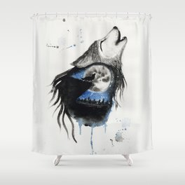Moon Wolf Shower Curtain