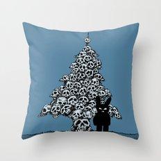 The Black Bunny of Doom and his Skull Christmas tree Throw Pillow
