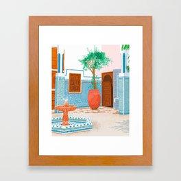 Moroccan Villa #painting #illustration Framed Art Print