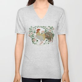 Rooster and morning glory Unisex V-Neck