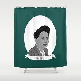 Ella Baker Illustrated Portrait Shower Curtain