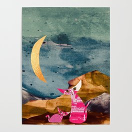 Curiosity cats. Moonshine. Digital collage. Poster