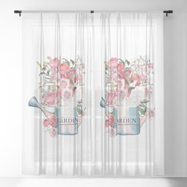 Garden blue watering can with pink and white roses, fashion vector illustration in vintage watercolor style Sheer Curtain