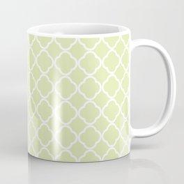Modern pastel green white moroccan quatrefoil pattern Coffee Mug