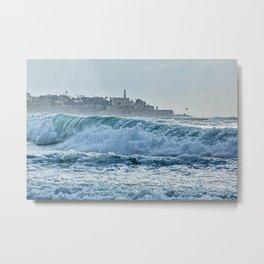 Waveforms on the shores of Tel Aviv Metal Print