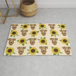 Airedale Terrier Sunflower floral print cute dogs and flowers design Rug