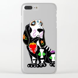 Basset Hound Sugar Skull Clear iPhone Case