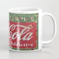 coca cola Mugs featuring Coca- Cola Ad by David Michael Schmidt