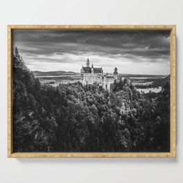 The Castle on the Mountain (Black and White) Serving Tray