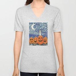Halloween owl & pumpkins Unisex V-Neck