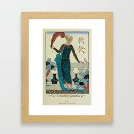 Barbier, George (1882-1932) - Les Colombes Familieres - La Guirlande 1919 Framed Art Print