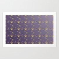 Ginkgo Purple Gold Art Print