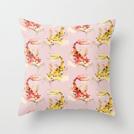watercolor koi fish pink background Throw Pillow