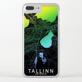Tallinn, Estonia, City, Map, Rainbow, Map, Art, Print Clear iPhone Case