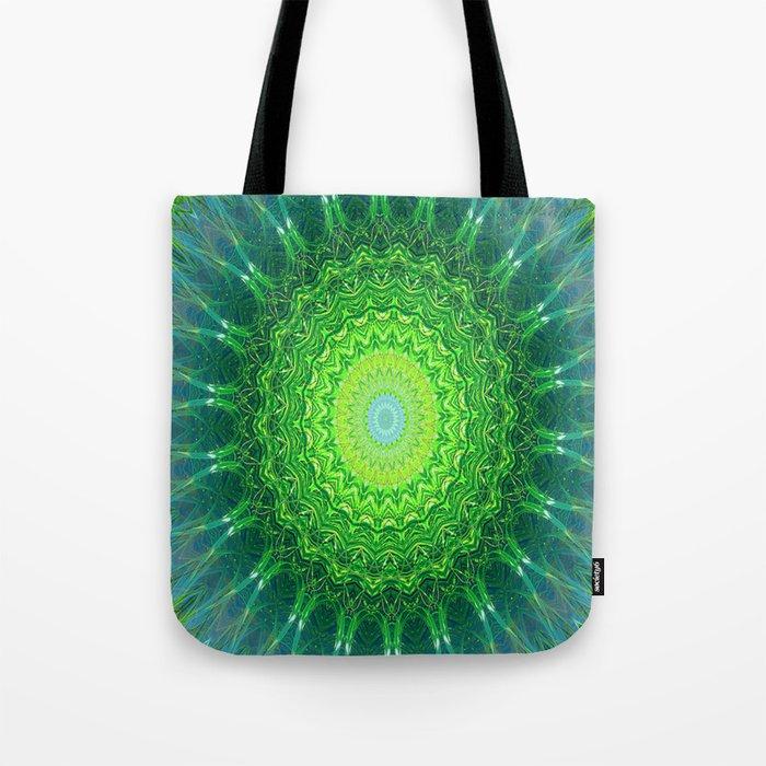 Glowing Green Ribbon Kaleidoscope Tote Bag